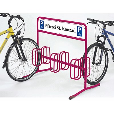 Fahrradständer DW 3000 von WSM - mit Dauerwerbefläche 1000 x 180 mm