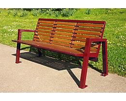 Sitzbank mit Holzauflage - 3-er Bank