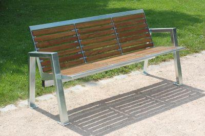 3-er Sitzbank - Edelstahl mit Holzauflage - Länge 1595 mm
