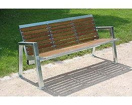 3-er Sitzbank - Edelstahl mit Holzauflage