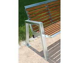 4-er Sitzbank - Edelstahl mit Holzauflage
