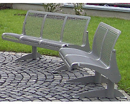 Sitzbank, ergonomisch - 3-er Bank - Gestell tannengrün