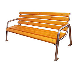 Banc de parc à quatre personnes - inox et assise en bois