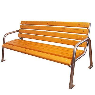 4-er Sitzbank - Edelstahlgestell mit Holzauflagen - Länge 1900 mm
