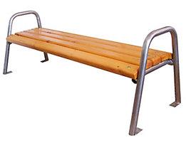 Banc sans dossier à quatre personnes - inox et assise en bois