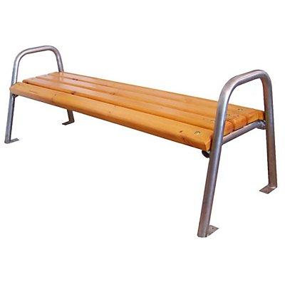Banc sans dossier quatre personnes inox et assise en bois longueur 1900 mm - Banc en bois sans dossier ...