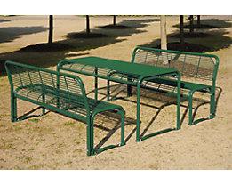 Sitzgarnitur aus Stahl - Bank, Tisch - tannengrün