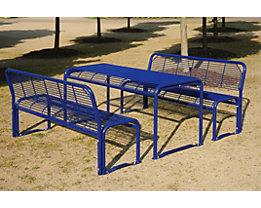 Sitzgarnitur aus Stahl - Bank, Tisch - nachtblau