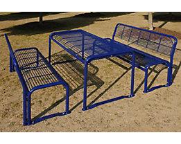 Sitzgarnitur aus Stahl - Bank, Tisch - weißaluminium
