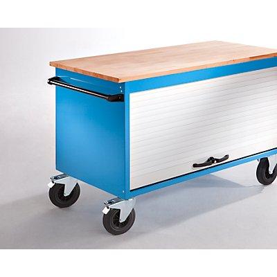 EUROKRAFT Werkbank mit Rollladen, fahrbar - Länge 1550 mm - 2 Fachböden, 4 Schubladen