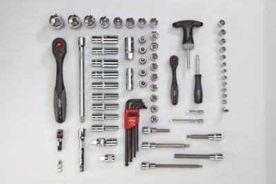 VIGOR Werkzeug-Sortiment COMBINE - Steckschlüssel, Schraubendreher Kombi-Set, 72-teilig, lose (ohne Einlage) - Werkzeug lose