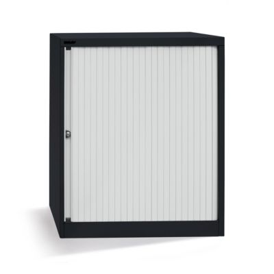 Bisley Rollladenschrank - horizontal, tiefschwarz / lichtgrau