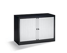 Bisley Rollladenschrank - horizontal, tiefschwarz / lichtgrau - HxB 695 x 1000 mm, 1 Fachboden