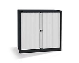 Bisley Rollladenschrank - horizontal, tiefschwarz / lichtgrau - HxB 1030 x 1000 mm, 2 Fachböden