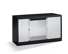 Bisley Rollladenschrank - horizontal, tiefschwarz / lichtgrau - HxB 695 x 1200 mm, 1 Fachboden