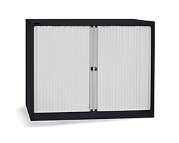 Bisley Rollladenschrank - horizontal, tiefschwarz / lichtgrau - HxB 1030 x 1200 mm, 2 Fachböden