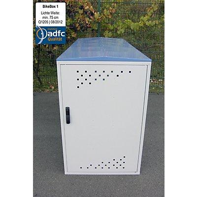 WSM Fahrradbox - Grundelement mit 1 Giebeldach, blau / grau