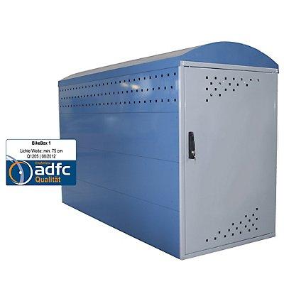 Fahrradbox - Grundelement mit 1 Bogendach, blau / grau