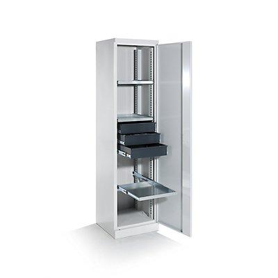 QUIPO Armoire d'atelier - largeur 500 mm, 3 tablettes coulissantes, 3 tiroirs