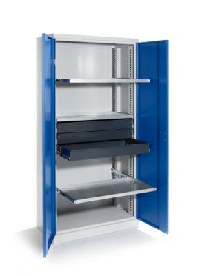 QUIPO Materialschrank - Breite 950 mm, 8 Ausziehböden, 1 Mitteltrennwand