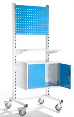 Mobiles Werkstattpult mit Ordnerschrank und Weißwandtafel