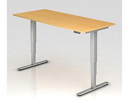 UPLINER-2.0 Stehschreibtisch - T-Fuß-Gestell, Breite 1800 mm - Dekor Buche