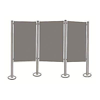 magnetoplan® Präsentationsboard-Set - 3 Pinntafeln, 4 Säulen - Gesamtbreite 3905 mm