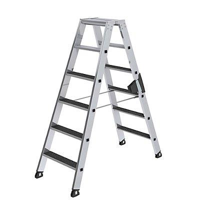 Günzburger Steigtechnik Stufen-Stehleiter - beidseitig begehbar, rutschhemmend
