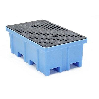 Romold PE-Auffangwanne - LxBxH 1222 x 817 x 450 mm, für 2 Fässer, mit PE-Gitterrost