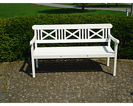 Holz Sitzbank   Länge 1.525 Mm, Weiß Lackiert