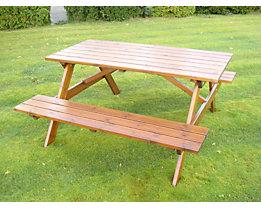 Gruppensitzbank, rechteckig - Tisch und 2 Sitzbänke