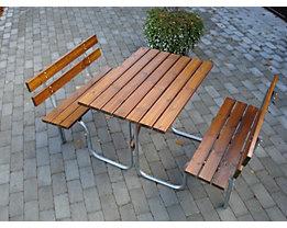 Gruppensitzbank - Tisch und 2 Sitzbänke mit Rückenlehne