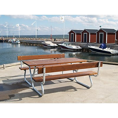 Gruppensitzbank, honigbraun - Tisch und 2 Sitzbänke