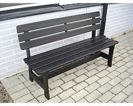 Holzsitzbank, schwarz - Gesamtlänge 1600 mm
