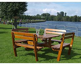 Gruppensitzbank - Tisch und 4 Sitzbänke mit Rückenlehne