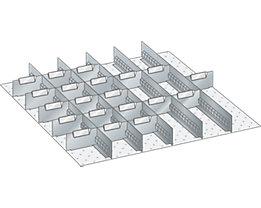 Lista Schubladeneinteilungsmaterial-Set - 5 Schlitzwände und 20 Trennbleche, 25-teilig, 125 mm