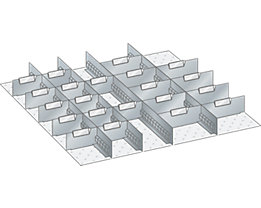 Lista Schubladeneinteilungsmaterial-Set - 4 Schlitzwände und 21 Trennbleche, 25-teilig, für Fronthöhe 75 mm