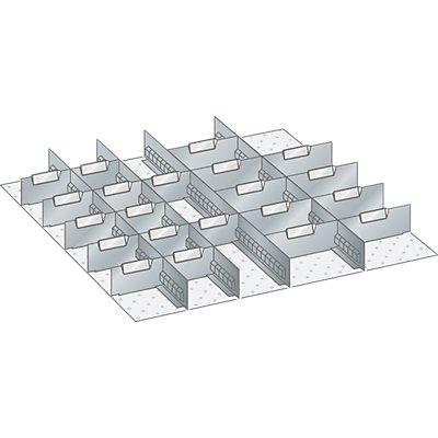 Lista Schubladeneinteilungsmaterial-Set - 4 Schlitzwände und 21 Trennbleche, 25-teilig