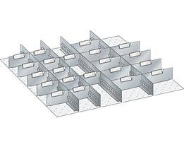 Lista Schubladeneinteilungsmaterial-Set - 4 Schlitzwände und 21 Trennbleche, 25-teilig, 125 mm