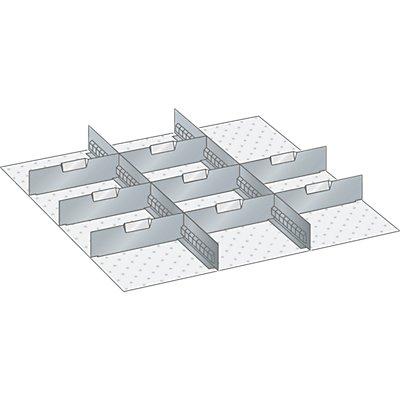Lista Schubladeneinteilungsmaterial-Set - 2 Schlitzwände und 8 Trennbleche, 10-teilig