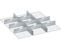 Lista Schubladeneinteilungsmaterial-Set - 2 Schlitzwände und 8 Trennbleche, 10-teilig, 125 mm