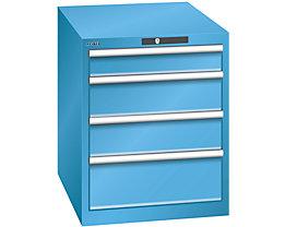 Lista Schubladenschrank, 4 Schubladen - BxTxH 564 x 724 x 700 mm, lichtblau