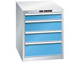 Lista Schubladenschrank, 4 Schubladen - BxTxH 564 x 724 x 700 mm, lichtgrau / lichtblau