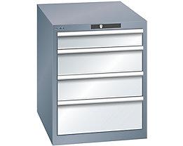 Lista Schubladenschrank, 4 Schubladen - BxTxH 564 x 724 x 700 mm, grau metallic / lichtgrau