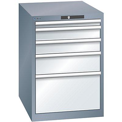 Lista Schubladenschrank, Stahlblech - HxB 800 x 564 mm, 5 Schubladen, grau metallic / lichtgrau