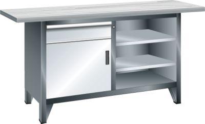 Lista Systemwerkbank, Breite 1500 mm - 3 Böden, 1 Schublade, 1 Tür