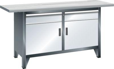 Lista Systemwerkbank, Breite 1500 mm - 2 Böden, 2 Schubladen, 2 Türen