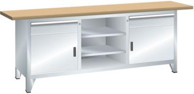 Lista Systemwerkbank, Breite 2000 mm - 2 Schubladen, 2 Türen, 4 Fachböden