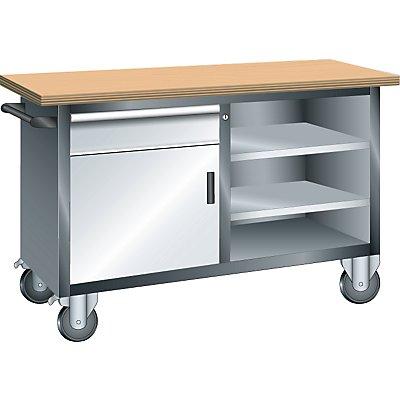 Lista Systemwerkbank, fahrbar - 1 Schublade, 1 Tür, 3 Fachböden