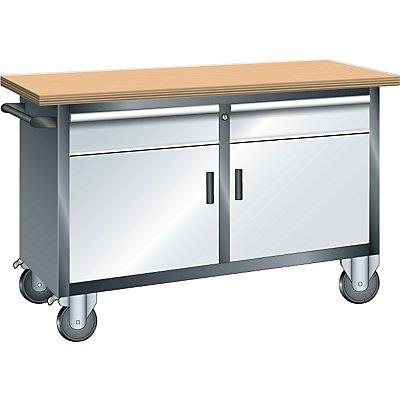 Lista Systemwerkbank, fahrbar - 2 Schubladen, 2 Türen, 2 Fachböden